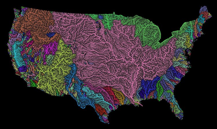 River Basins of the World Brightly Color Coded in Gorgeously Lush Maps