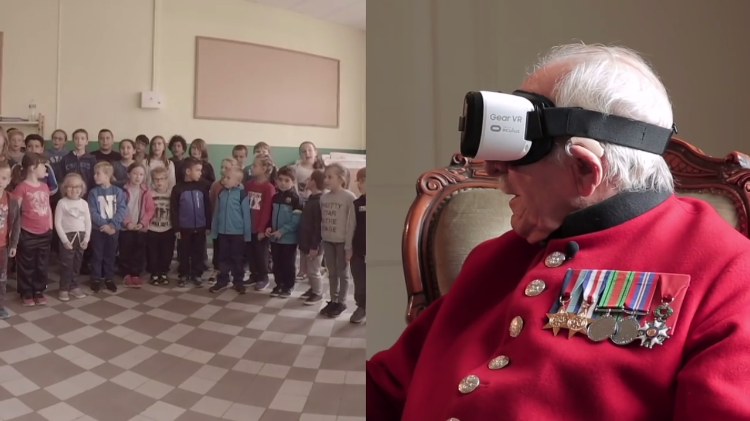 WWII Veteran Tries Virtual Reality for the First Time to Visit the French Town He Helped Liberate