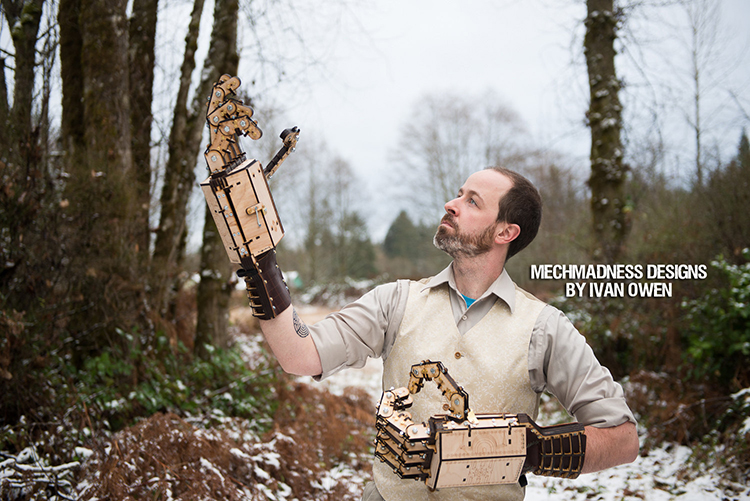 Large Mechanical Gauntlets Made With a Laser Cutter Using Wood, Leather, Steel, and Brass