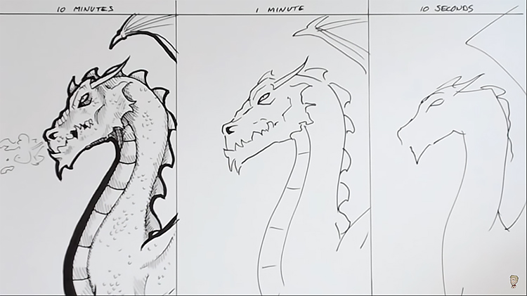 The Line Art Challenge : Artist does minute and second sketch of