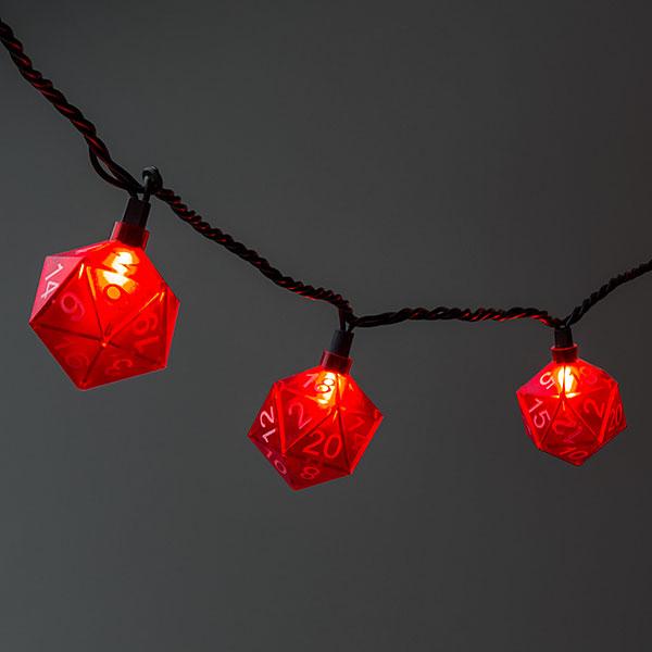 Red D20 Dice String Lights