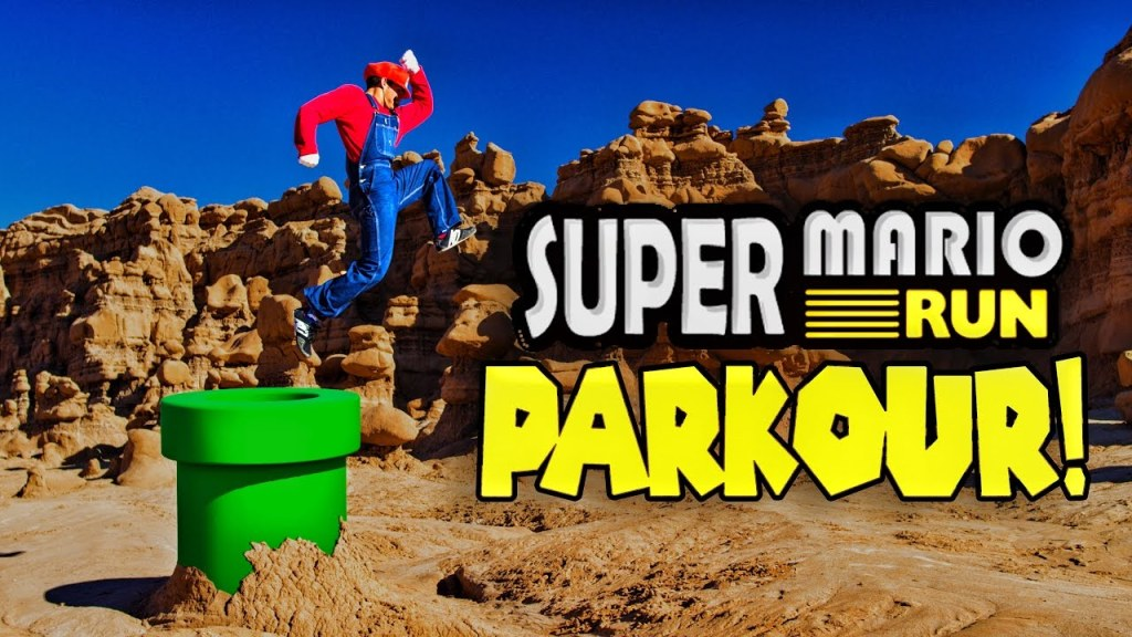 Real Life Mario From Super Mario Run Doing Parkour Stunts to Collect Coins and Save Princess Peach