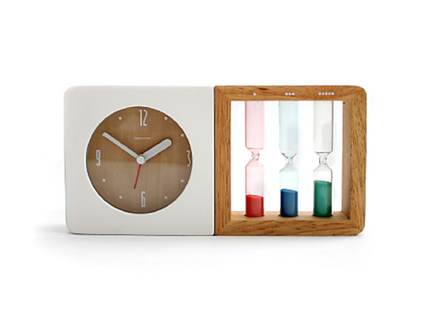 A Two-In-One Modern Alarm Clock and Old Fashioned Hourglass Timer Duo