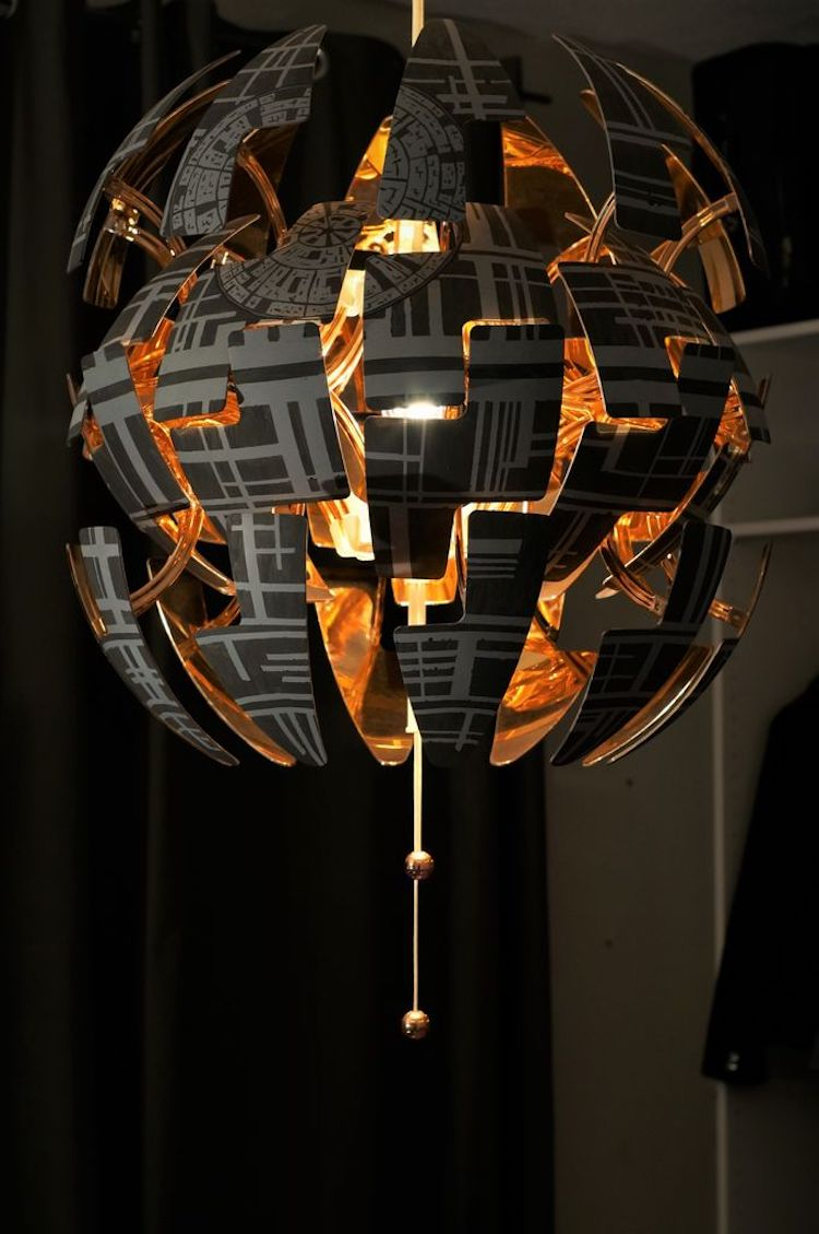 How to Turn a Ikea Hanging Pendant Lamp Into an Exploding Star Wars Death Star