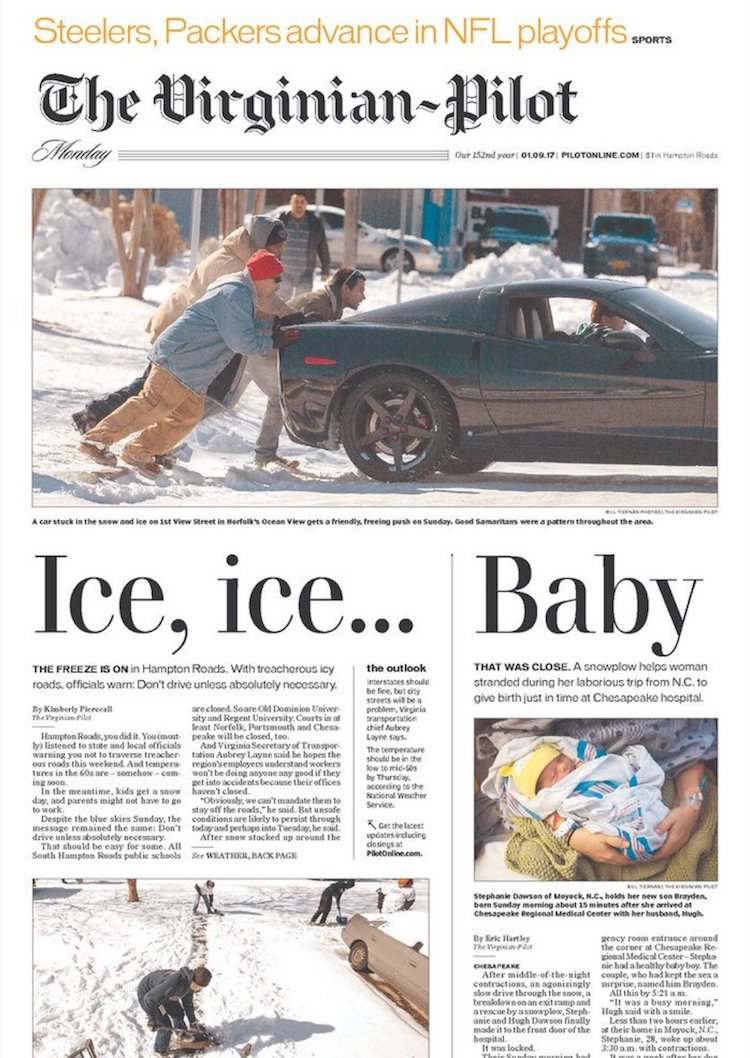 Ice, Ice…Baby, The Virginian-Pilot Nails It With a Brilliant Front Page Layout of Their Newspaper
