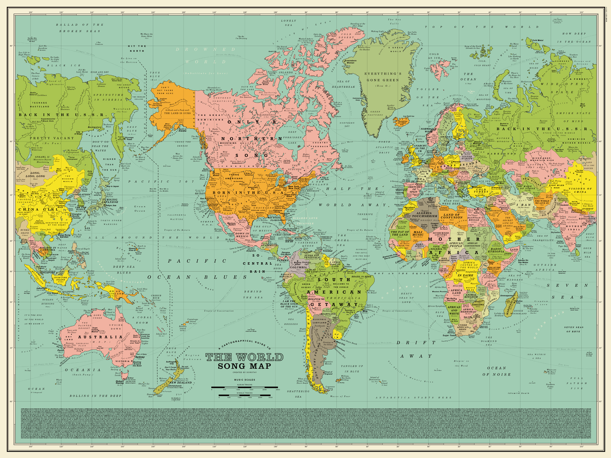 World Song Map A Detailed Poster That Imagines The World Map Made - Eorld map