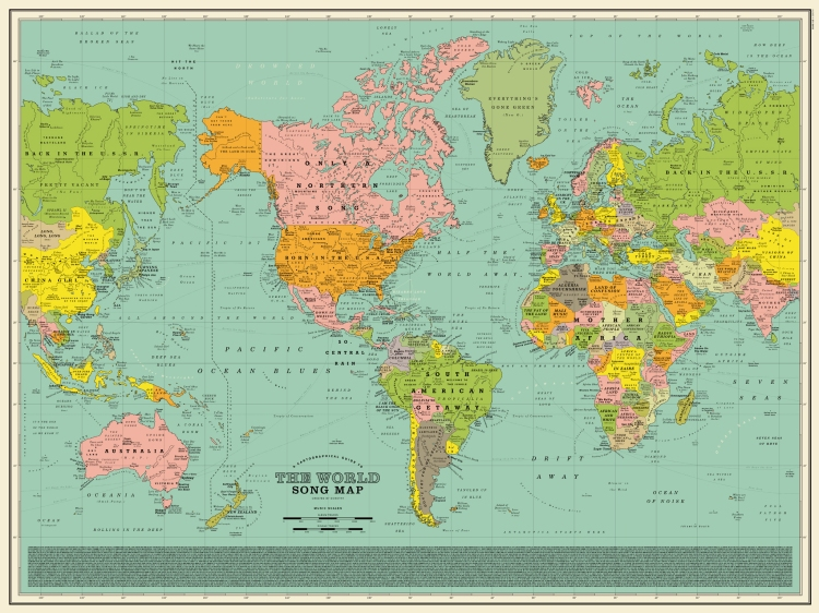 World song map a detailed poster that imagines the world map made world song map a detailed poster that imagines the world map made up of song titles gumiabroncs Gallery