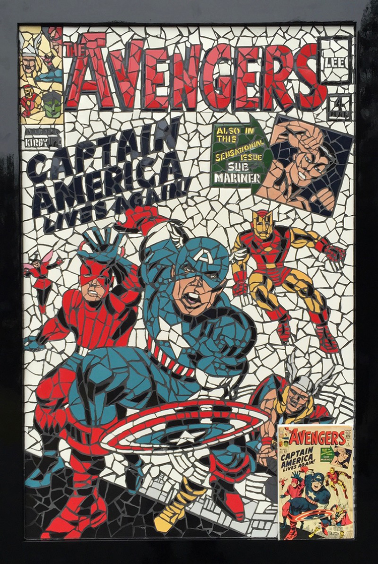 Vintage Comic Book Cover : Classic comic book covers recreated as beautiful mosaics