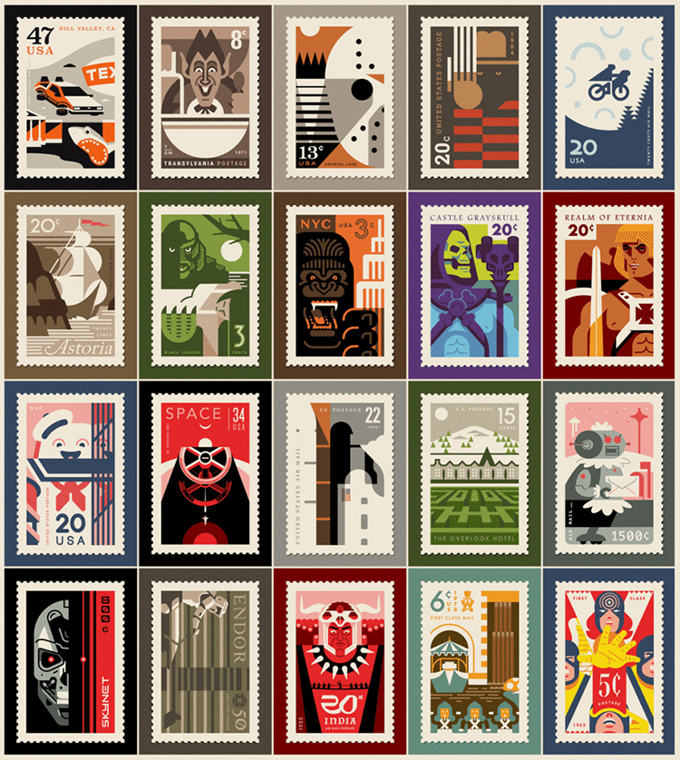 Clark Orr Solo Art Show Featuring His Pop Culture Postage Stamp Designs At Gallery1988 West