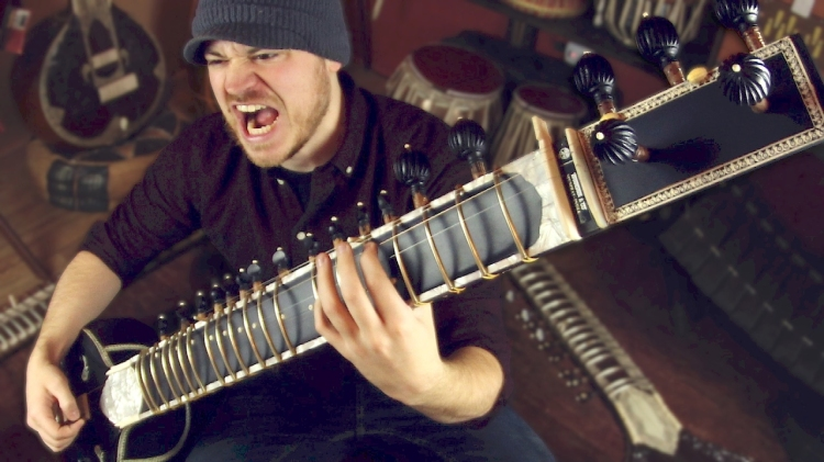 Guitarist Rob Scallon Rocks Out a Heavy Metal Tune on a Gorgeous 19-String Sitar