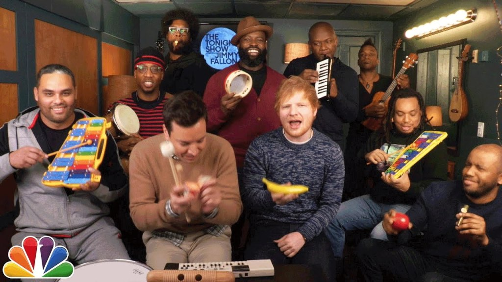 Jimmy Fallon, Ed Sheeran, and The Roots Play 'Shape of You' Using Classroom Instruments