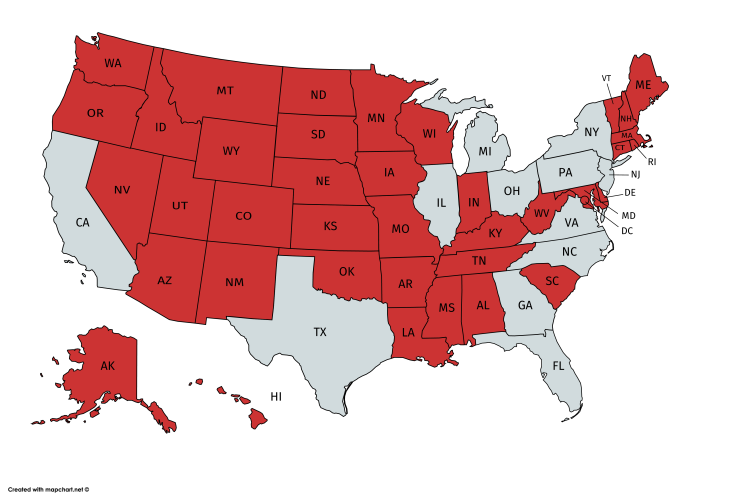 A Surprising US Map That Plots Which States Have A Population - New york in us map