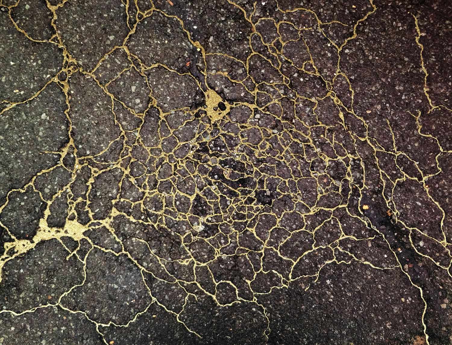 Sidewalk Kintsukuroi, The Traditional Japanese Art of Gold Repair Used to Fix Cracks in the Ground