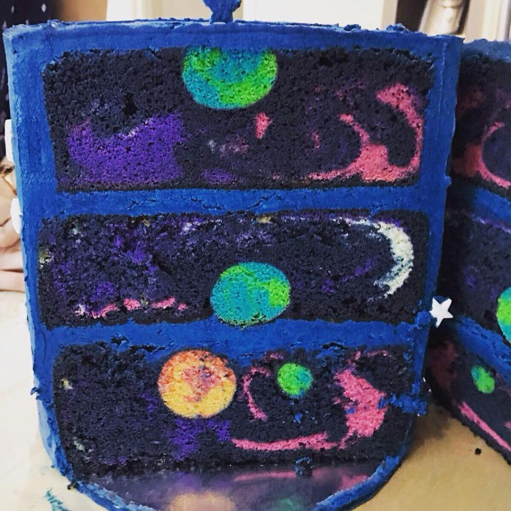 Incredible Space Cake Featuring A Beautiful Hidden Galaxy