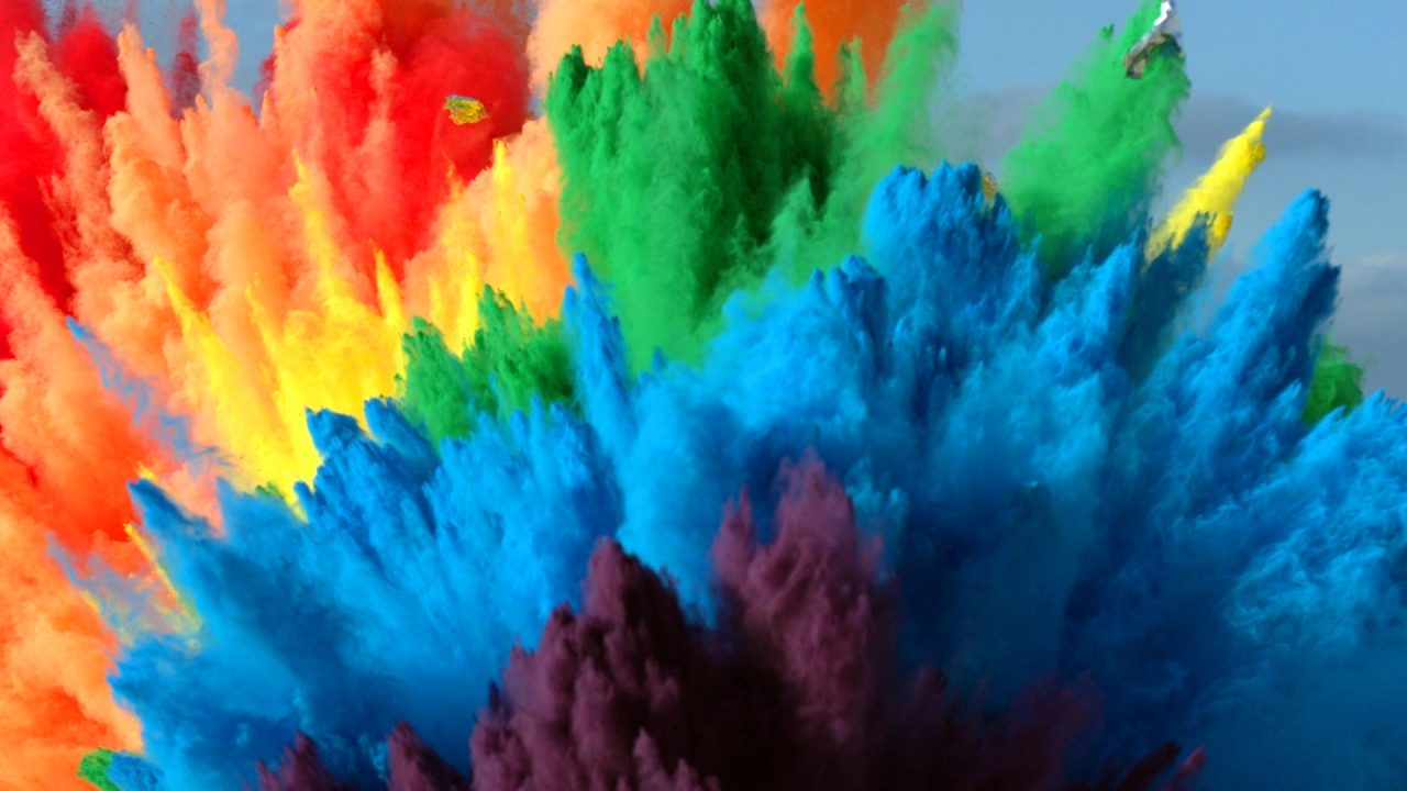 Paint Rainbow Girl Wallpapers: The Slow Mo Guys Combine Colored Powder And 25 Air Bags To