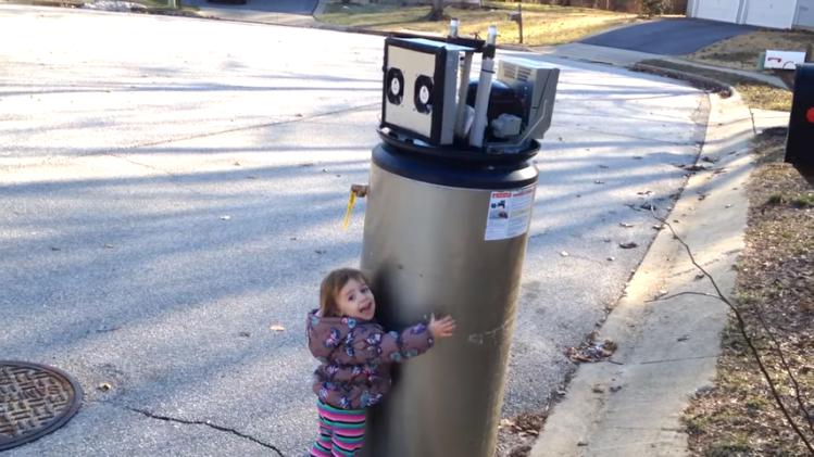 Little Girl Loves Water Heater