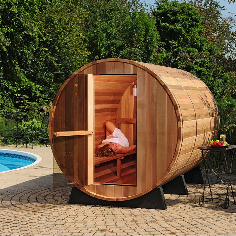 Unique Outdoor Wooden Barrel Shaped Saunas