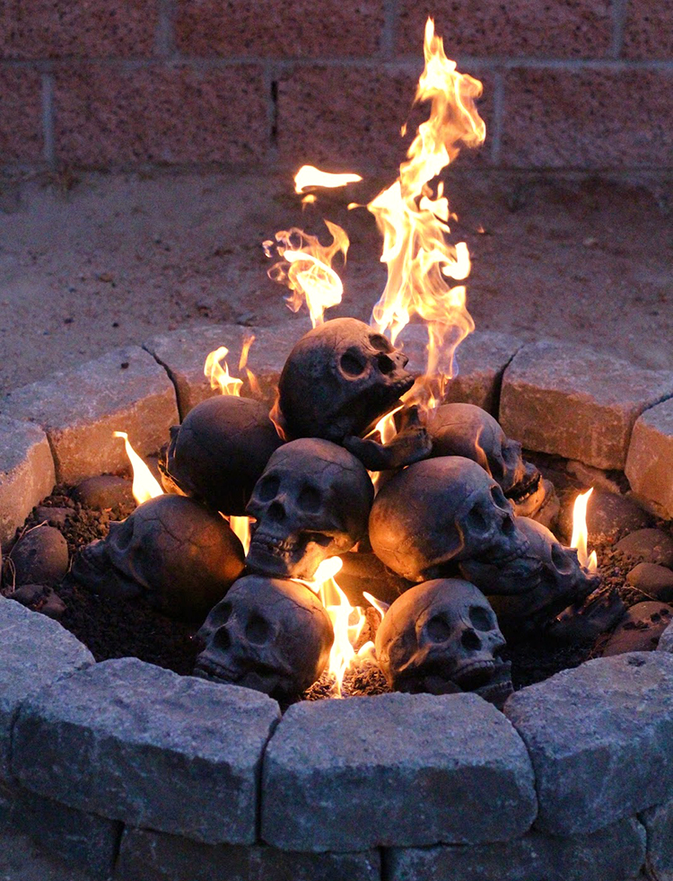 Formation Creations has made a collection of creepy fireproof human skull logs designed to be used in your gas fireplace or fire pit that are sure to frighten family members and friends. The black