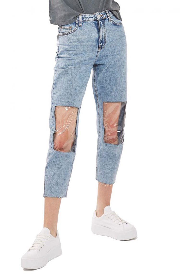 Clear Knees Mom Jeans