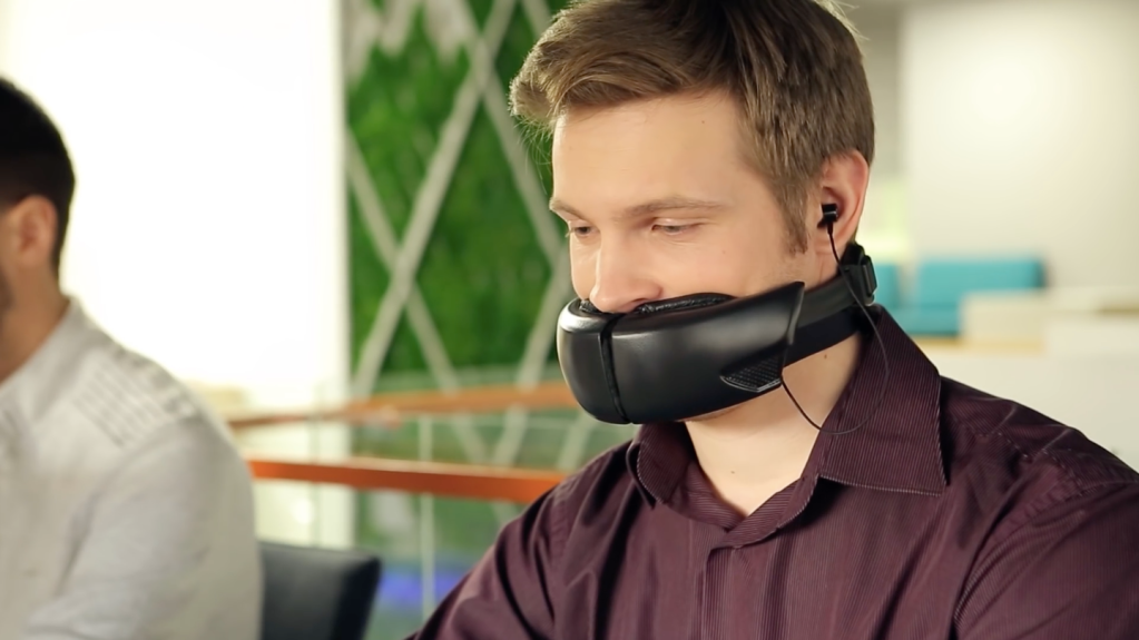 Hushme, A Bane-Like Mask That Silences the Wearer's Voice for Phone Privacy in Public Places