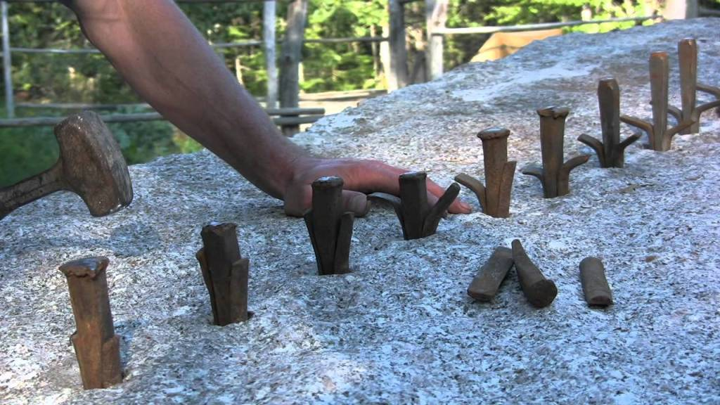 One Man Splits a 26,000 Pound Granite Block by Creating Small Cracks Using a Two Pound Hammer