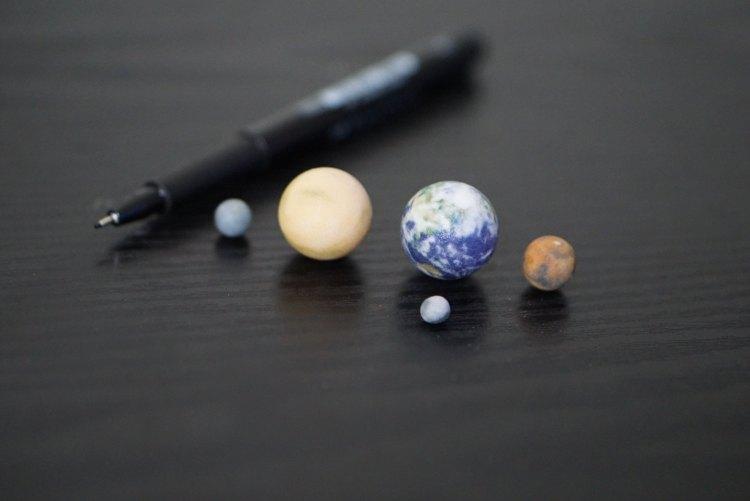 Tiny Mercury, Venus, Earth, Mars, Moon