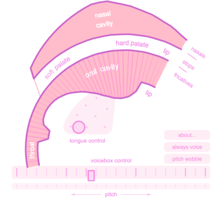 Pink Trombone, An Interactive Cross-Section of the Human Vocal Tract That Simulates Vocal Sounds