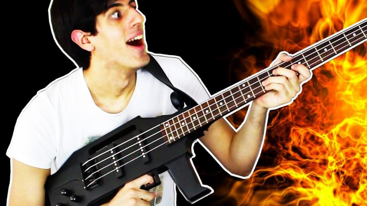 An Impressive Medley of Rage Against the Machine Songs Played on a Machine Gun Shaped Bass