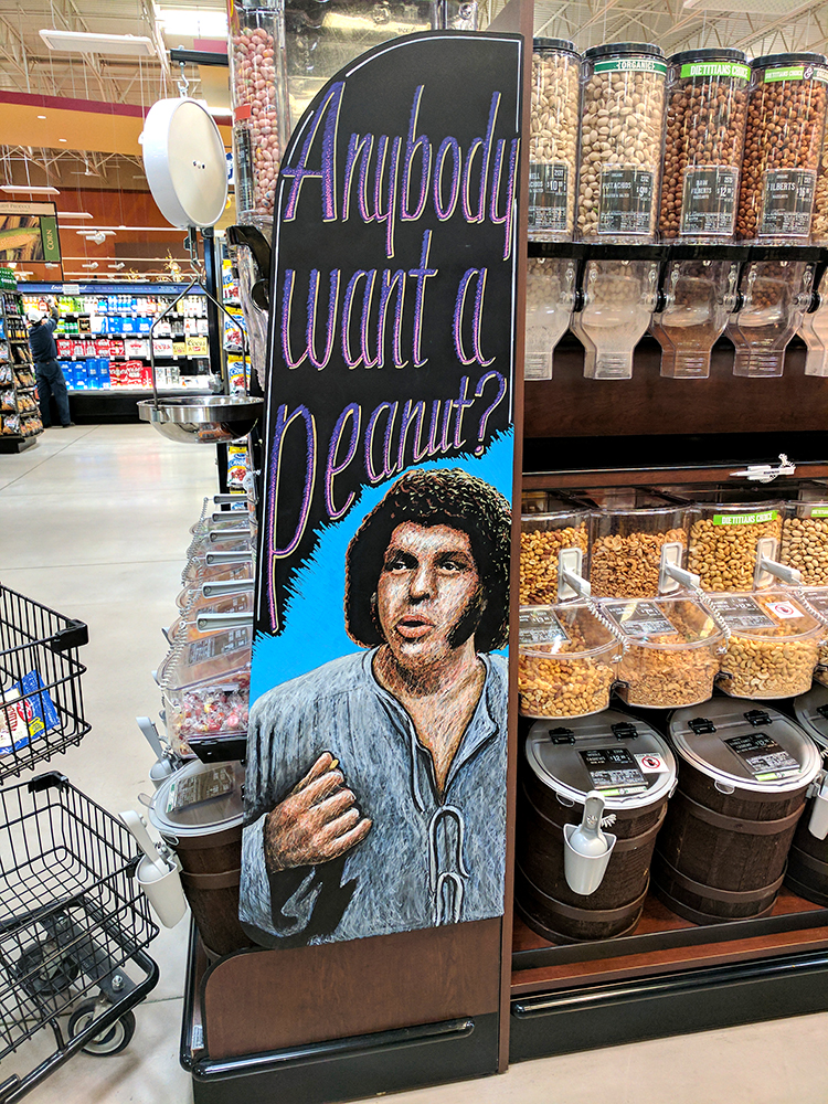 Artist Creates Clever Pop Culture Chalk Art Displays for Grocery Store