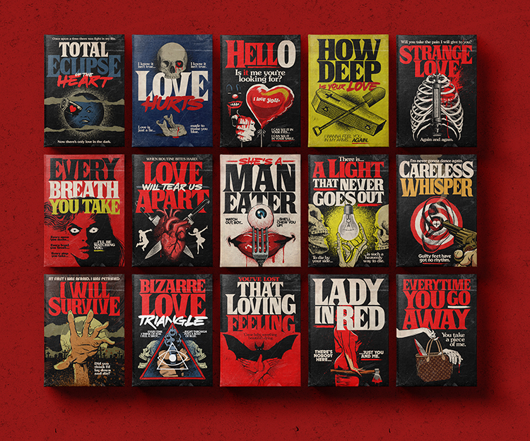 The Titles of Classic Love and Heartbreak Songs Illustrated as Stephen King Horror Novel Covers