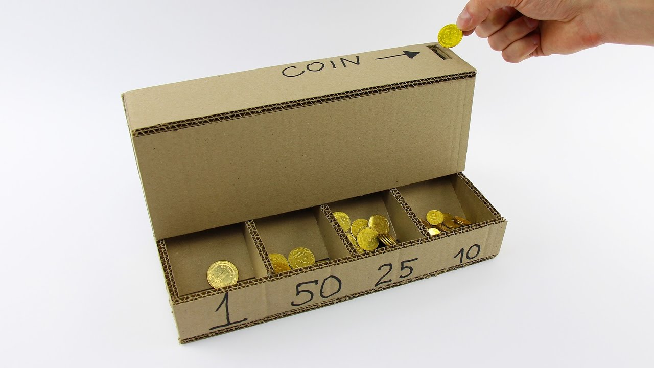 How to make a cardboard coin sorting machine - Sorting coin bank ...
