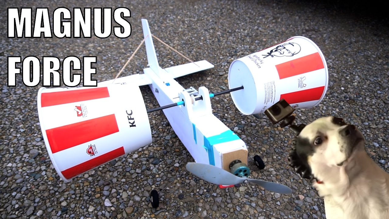 Remote-Controlled KFC Bucket Airplane That Uses the Magnus Effect to Fly