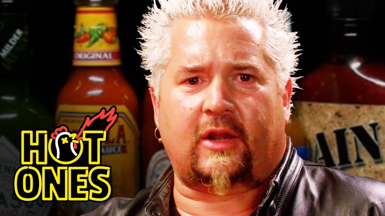 Guy Fieri Powers Through the 'Hot Ones' Spicy Wing Challenge While Talking About His Life
