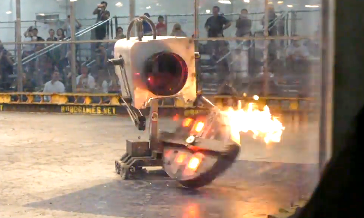 120 pound rick and morty butter robot with a flamethrower wages war