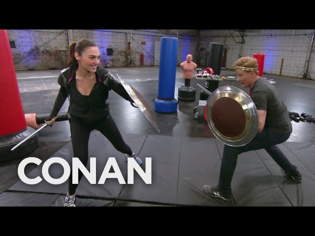 Wonder Woman's Gal Gadot Meets Conan O'Brien in a Warehouse to Teach Him How to Fight