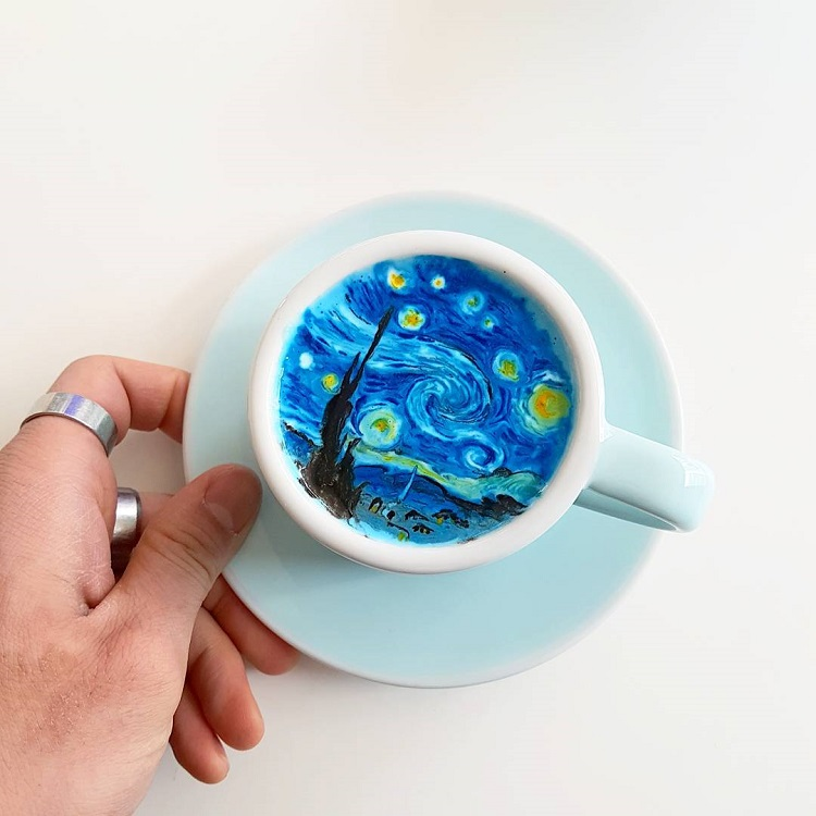 Barista Creates Colorful Latte Art Featuring Pop Culture Characters and Classic Artwork