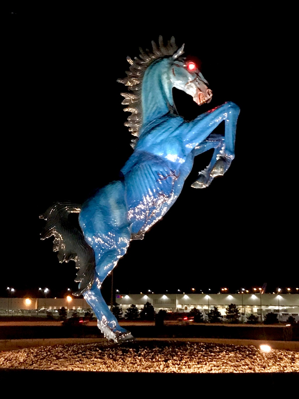 Blue Mustang (Blucifer), The Horse Sculpture With Glowing Red Eyes at Denver International Airport