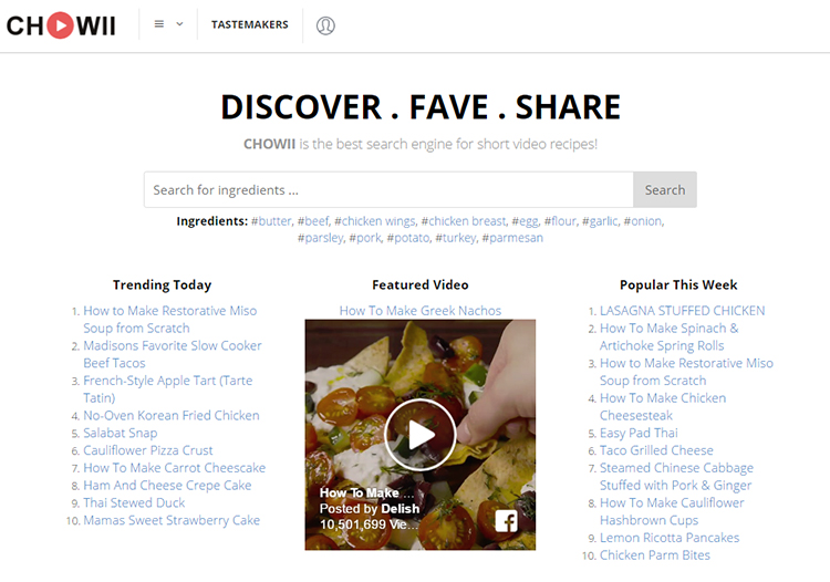 Chowii, A Website and App That Lets You to Search for Short Food Recipe Videos by Ingredients