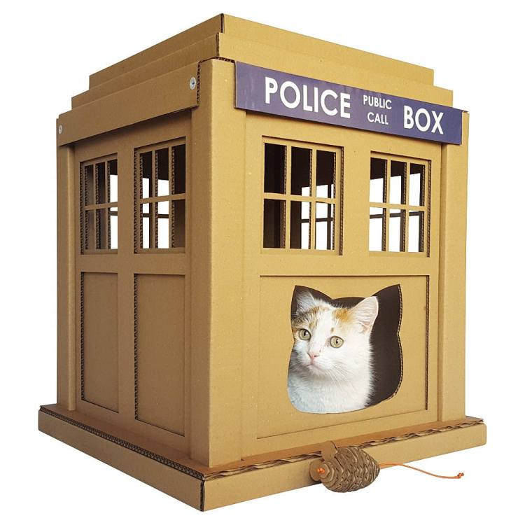 Dr. Who Tardis Cardboard Cat House
