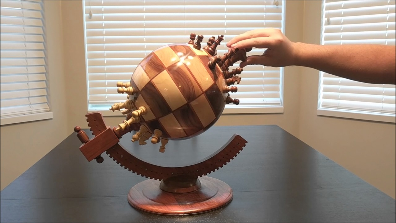 Fully Functioning Wooden Globe Chessboard That Uses Magnets to Hold Each Chess Piece in Place
