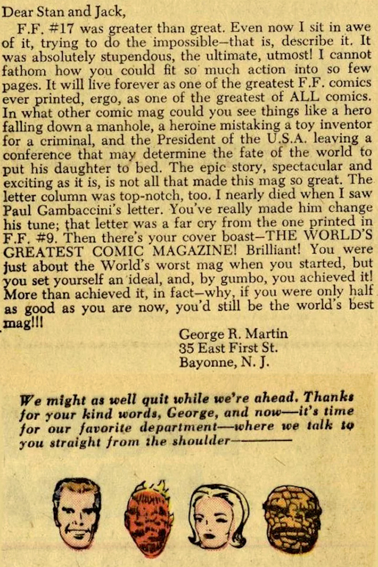 George R. R. Martin Marvel Fan Letter