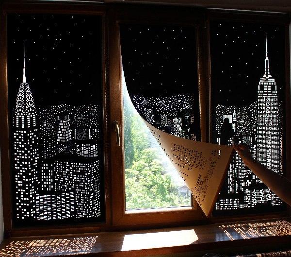 Elegant Blackout Window Shades With Iconic City Skyline Cutouts