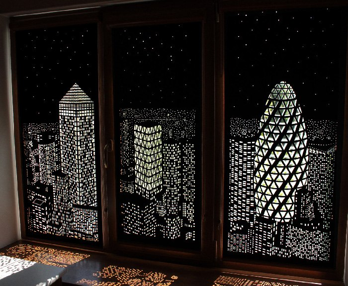 Elegant blackout window shades with iconic city skyline Blackout curtains city skyline