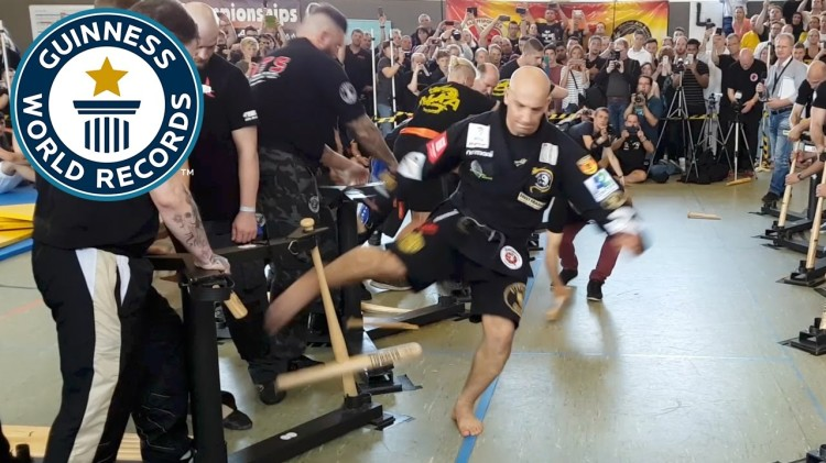 Martial Arts Master Sets Guinness World Record for Breaking 65 Baseball Bats With His Shins in 1 Minute