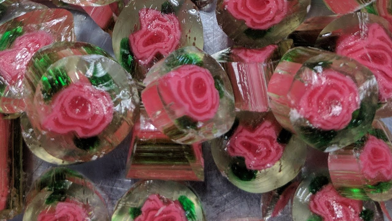 A Satisfying Demonstration of Crystal Rose Image Candy Being Made by Hand