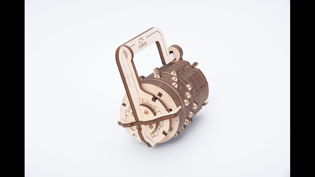 A Mechanical Wooden Combination Lock Kit Inspired by The Da Vinci Code