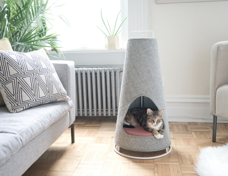The Cone, A Sleek Modern Cat Scratching Post That Doubles as a Comfy Cozy Kitty Bed