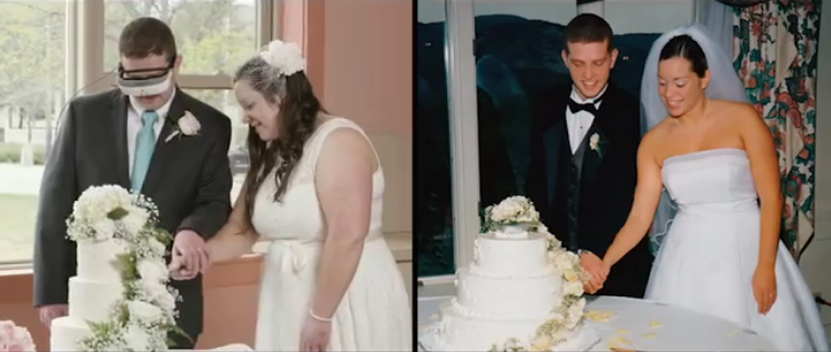 Blind Man Using Sight Enhancing Glasses Sees His Bride for First Time During a Redo of His Wedding