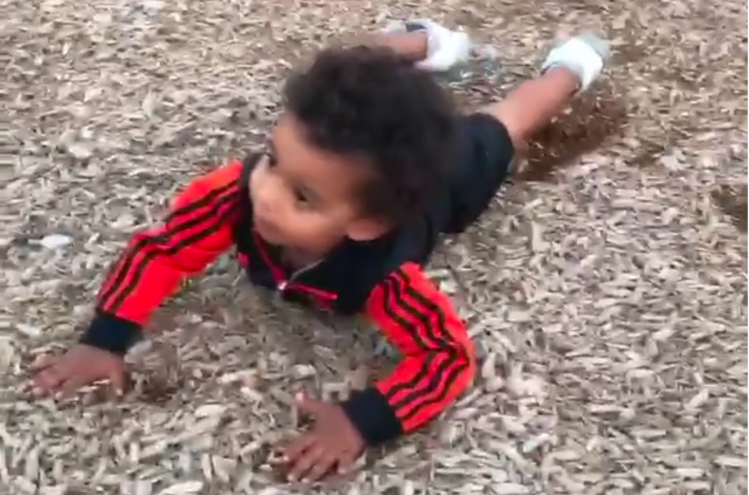 Cute Little Kid Has Trouble Walking After Getting Very Dizzy While Spinning in a Playground Chair