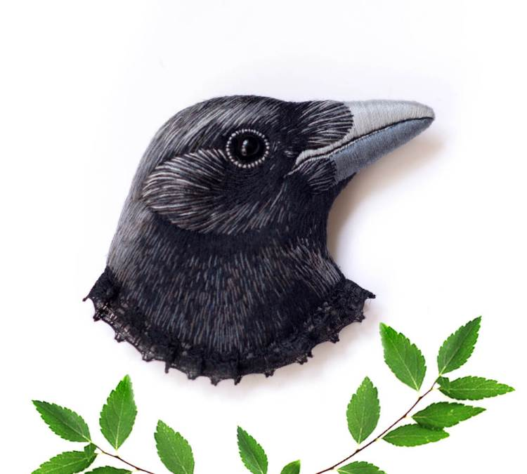 Embroidered Raven Brooch